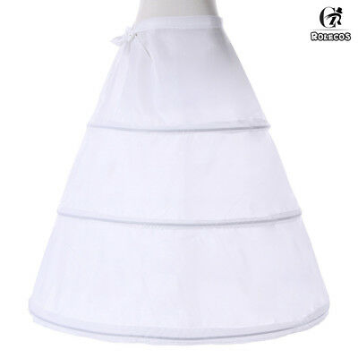 3-Hoop A-Line White Long Dress Wedding Gown Crinoline Petticoat Underskirt Slips