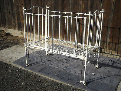 Antique Cast Wrought Iron / Metal Baby Bed / Crib
