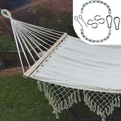 Large White Canvas Hammock with Spreader Bar and Tassels + FREE Hanging Kit