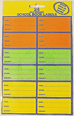 24 x SCHOOL BOOK LABELS / STICKERS SELF ADHESIVE 3 COLORS + FREESHIPPING