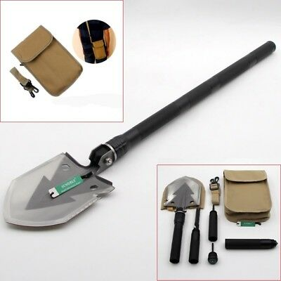 Outdoor Black Multi-function Folding Shovel Engineer Tool For Camping Hiking