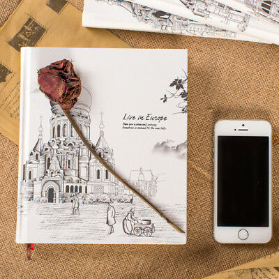 European Style Illustration Colored Page Notebook Drawing Diary Blank Journal
