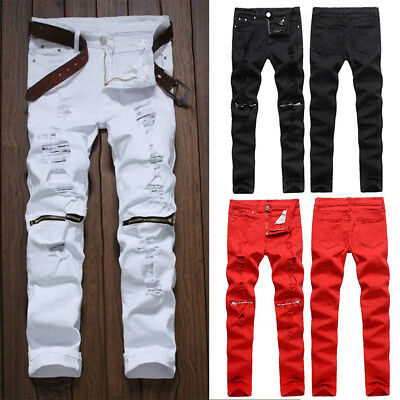 US SALE Mens Ripped Skinny Distressed Destroyed Slim Fit Jeans Pencil Pants RED