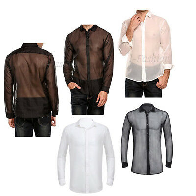 Men Long Sleeves See Through Mesh Fishnet T-shirt Crop Tank Top Tee Button Shirt