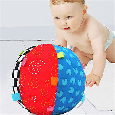 Baby Toddler Kids Colorful Soft Plush Rattle Ball Hand Grasp Bell Musical Toy