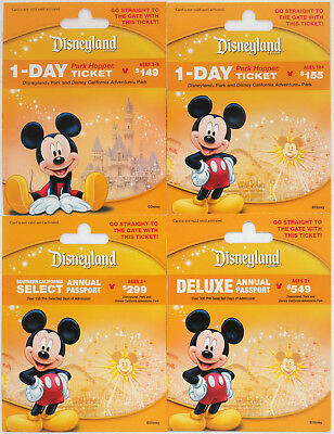 4 Different DISNEYLAND Mickey Mouse Passport Gift Cards 2015 New & Mint - Yellow