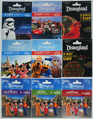 9 Different DISNEYLAND Passport Gift Cards 2017 Mint Main St. Electrical Parade+