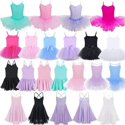 Girls Kids Tutu Ballet Leotard Dance Dress Ballerina Dancewear Costume Size 2-12