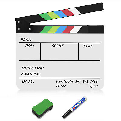 "Dry Erase Director's Film Clapboard Cut Action Scene 10x12"" Acrylic Color Stick"