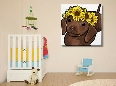 Cute Flower Puppy Dog Pets Stretched Canvas Print Framed Wall Art Home Decor DIY