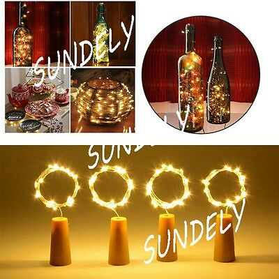 6/12/24pcs 20 LED 2M Cork Shape Starry Night Light Wine Bottle Lamp Garden FAST