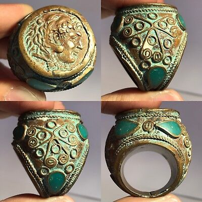 Stunning Ancient Roman Coins Vintage Bronze Ring