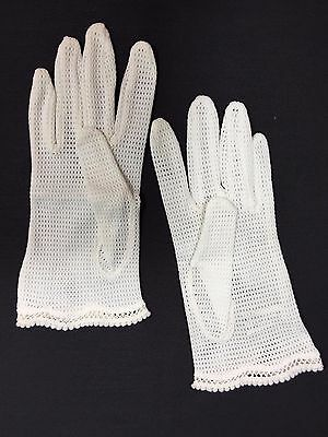 Vintage Nylon Mesh Gloves Cream Made In Hong Kong Fit All - Euc!