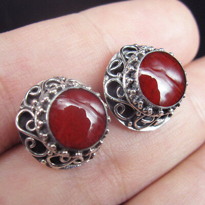 Quality RED CORAL & 925 Sterling Silver STUD Earrings Jewellery