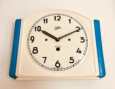 Vintage JUBA working art deco ceramic 8 day wall clock with key Germany