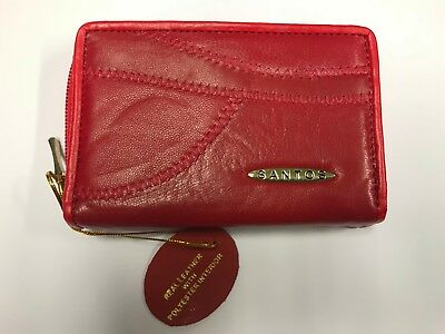 WHOLESALE JOB LOT 12 x LADIES REAL PATCHWORK LEATHER PURSE WALLET RL1950 Red