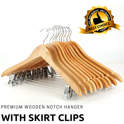 Adult Wooden Clothes Hangers With Peg, Clip Perfect For Dress, Suit, Trousers