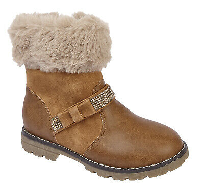 New Girls Fashionable Zip Buckle Faux Fur Comfortable Bow Sparkle Ankle Boots