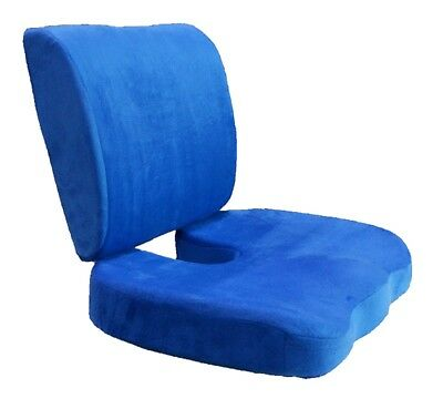 2 Piece Set Memory Foam Back Lumbar & Seat Cushion Support Pillows Pain Relief