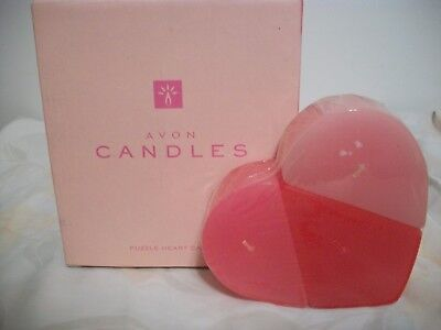 Avon Puzzle Heart Candle With Rose Fragrance Shaped As A Heart