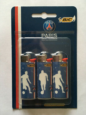 Lot De 3 Bic Mini Briquet Psg Paris Saint Germain Lighter Neuf Emballe