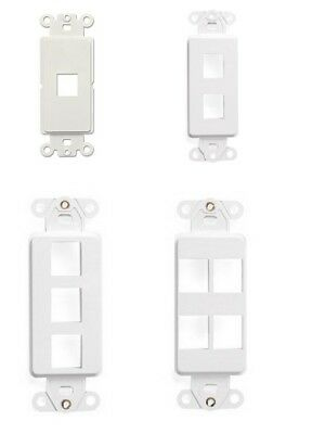 Faceplate White Plastic 1 2 3 4 Port Outlet Cover Wall Plate Decora + Screws NEW