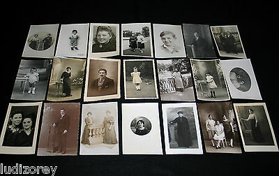 Lot A10 : 21 Cpa Old Carte Photo Enfant Miss Homme Lady Mode Souvenir Famille