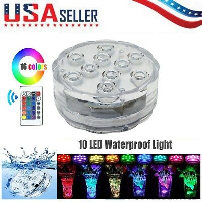 16 Color Wireless Waterproof Pool LED Submersible Light RGB Remote Control US