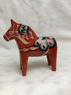 "Vintage 2"" Tall Red Horse Hand Painted Akta Dalahemslojd Made In Sweden"