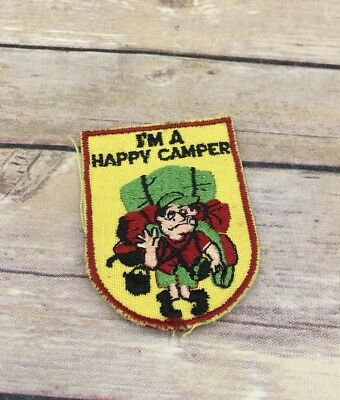 Vintage Novelty I'm a Happy Camper Man with Heavy Bags Patch