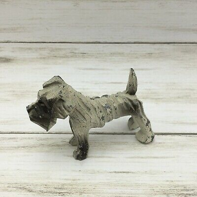 "Vintage Cast Iron Dog White Terrier Figurine Paperweight 2.5"" Tall"