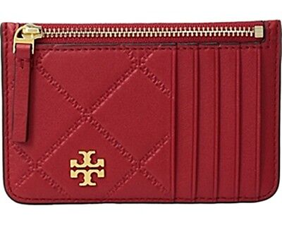 Tory Burch Georgia Top Zip Card Case LIBERTY RED Authentic NWT SRP $98