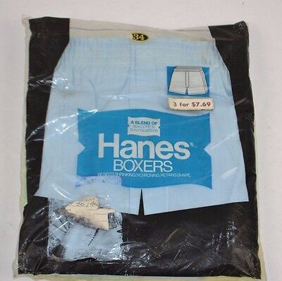 Vtg 1970's HANES 3-Pack Boxers Yellow/Green/Blue Size 34 NEW OLD STOCK