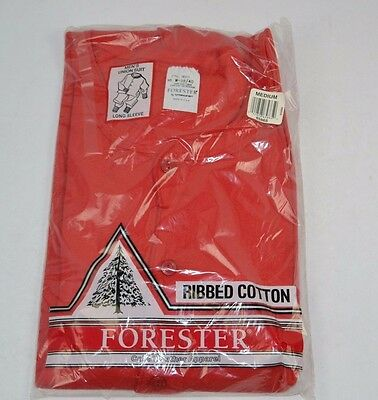 Vtg Forester Ribbed Cotton UNION SUIT Long Sleeve Red Medium USA Made - NOS