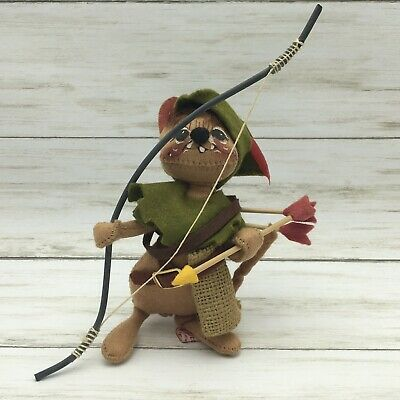 """Annalee Dolls 7"""" Little Robin Hood Mouse item #2008 made in USA 1990"""