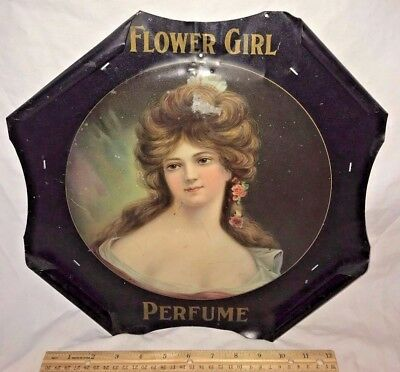 Antique Flower Girl Perfume Tin Litho Sign Victorian Lady Vintage 1907 Cosmetics
