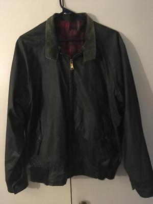 WOOLRICH Waxed Cotton Nylon Blend Jacket Coat Medium Plaid Lined Green USA