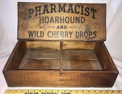 Antique Pharmacist Hoarhound Wild Cherry Cough Drop Apothecary Medicine Display