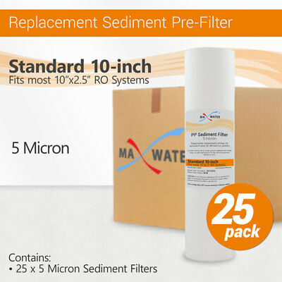 25 Pack Reverse Osmosis RO Whole House Systems PP Sediment 5 Micron Water Filter