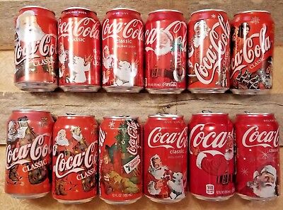 Coca-Cola Christmas/Holiday 12 oz Cans empty lot of 12 all Christmas themed cans