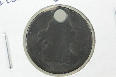 1807 Half Cent AG Holed & Bent