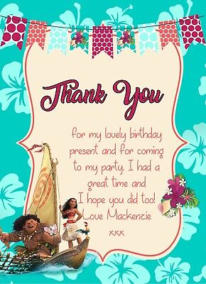 Personalised Disney Princess Moana Birthday Party Thank You Cards + envs MO8TY