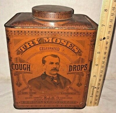 Antique Try Moses Tin Litho Cough Drop Medicine Can Hartford Ct Apothecary Drug