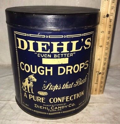 Antique Diehl Cough Drop Tin Litho Medicine Can Vintage Nipper Dog Candy York Pa