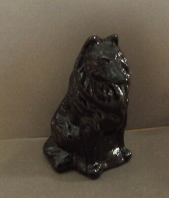 Vintage Mosser  Amber Black Slag Glass  Collie Sheltie Dog Figurine  3""