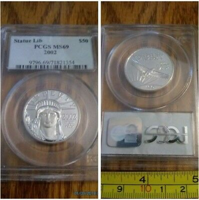 ✯ MS69 2002 1/2OZ Platinum $50 Statue Liberty Eagle Coin PCGS Certified Insured✯