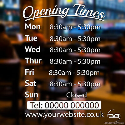 Opening Times Hours Personalised Custom Vinyl Sticker Sign Coffee Shop Salon