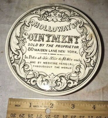 Antique Holloways Ointment Soft Paste Porcelain Pot Lid Salve Medicine New York
