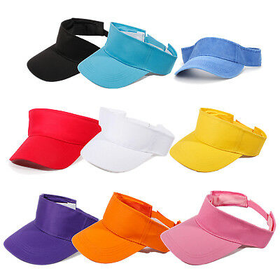 Visor Sun Plain Hat Sports Cap Colors Golf Tennis Beach New Adjustable Men X5T1