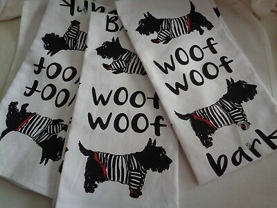 NWT woof woof scottie dogs in French striped t-shirts dish towels 100% cotton